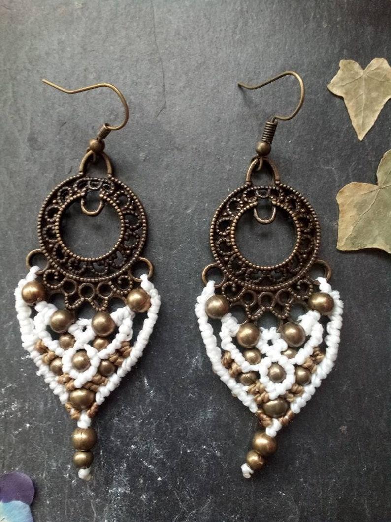Macrame earrings long earrings macrame jewelry bronze earrings