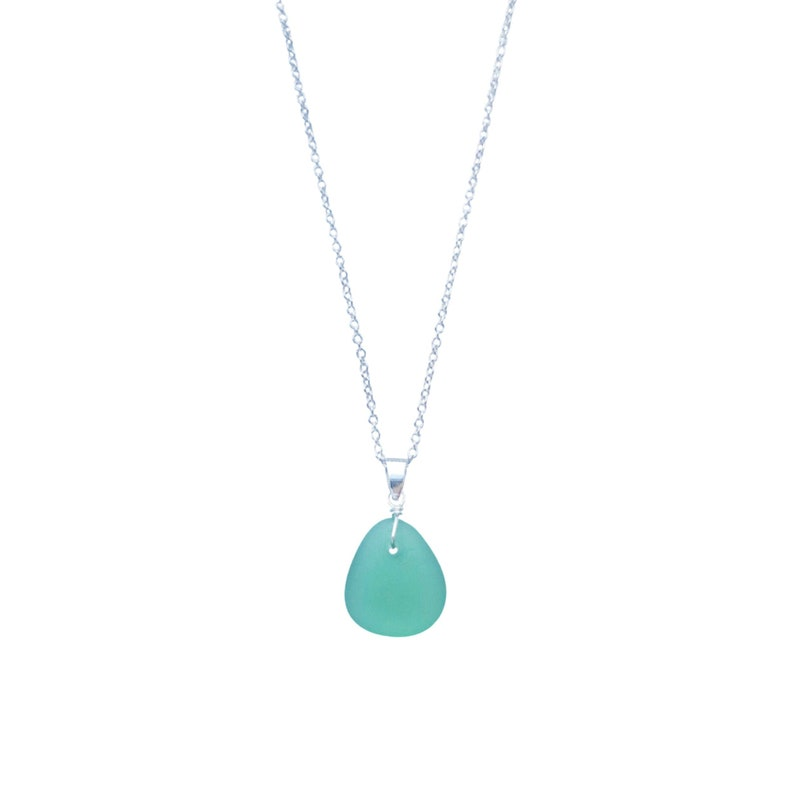 Teal Necklace Teal Jewelry Genuine Sea Glass Necklace Custom Jewelry Gift for Women Beach Glass Pendant Gift Sea Glass Jewelry
