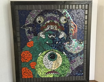MONSTERS AND BOO being still. Mosaic wall panel, hand cut stained glass, mosaic wall hanging