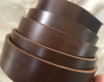 """1.5"""" X 50"""" Bison Brown leather strap, veg tanned, full grain leather strap, 8/9oz thick"""