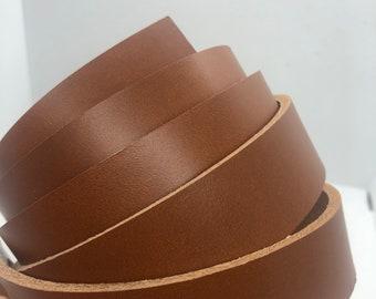 "1.5"" X 50"" Light Tan full grain leather strap, handmade leather strap, 8/9oz thick"