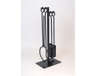 Le Minimaliste Quatuor Fireplace tool set Fire poker Ash Shovel Brush Log Tong Stand Modern Design Metal Forged Steel Hearthside accessories