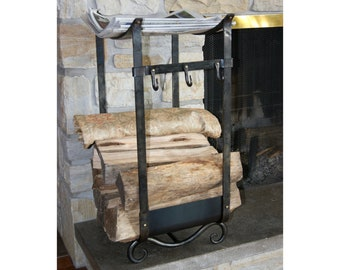 Firewood holder Scroll and brass #503 Firewood Log Rack hooks Storage Fireplace Accessories Hearth Wood Stove Wrought iron Forged