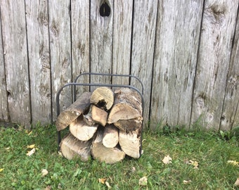 Firewood holder The Cube #507 Wrought iron Forged Firewood rack Fireplace accessories Log storage Wood stove Minimalist Modern Industrial