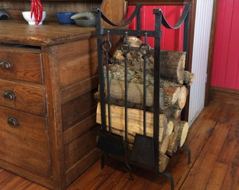 Firewood holder Le Romantique #502 Firewood rack with hooks Fireplace tool set in option Log rack Wood storage Fireplace accessories Hearth