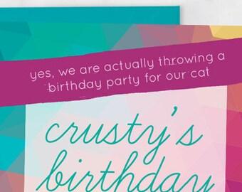 Cat Birthday Party Invitation - Birthday Party for My Cat - Cat Birthday Invitation - Kitten Birthday Party Invitation Print at Home 5x7 PDF