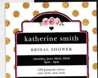 Kate Bridal Shower Invitations - Black White Gold and Pink Bridal Shower - Black & White Stripes - Polka Dots - Gold Glitter - Print At Home