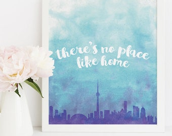 Toronto Skyline Wall Art - Toronto Artwork - Toronto Gift - There's No Place Like Home - Print at Home Download 8x10 Printable - Blue Purple