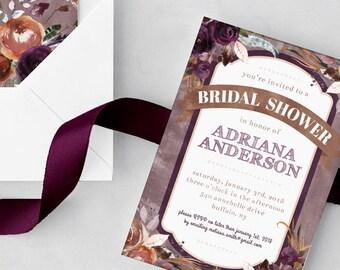 Autumn Bridal Shower Invite - Burgundy and Orange Bridal Shower Invitation - Floral Fall Watercolor - 5x7 Printable PDF - Wedding Shower