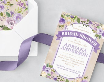 Purple and Green Bridal Shower Invite - Floral Spring Bridal Shower Invitation - Cream and Purple Flowers Watercolor - 5x7 Printable PDF