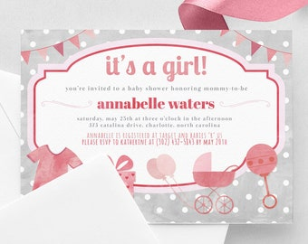 It's A Girl Baby Shower Invitation - Pink & Gray Baby Shower Invite - Polka Dots Baby Shower - Print at Home 5x7 PDF Cute Simple Baby Shower