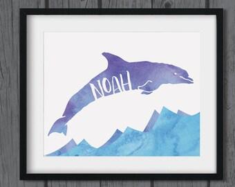 Dolphin Nursery Artwork - Dolphin Name Art - Ocean Theme Nursery Decor - Print at Home 8x10 - Blue and Purple Watercolor - Boy or Girl Name