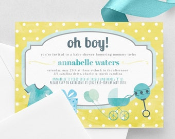 Oh Boy Baby Shower Invitation - Blue and Yellow Baby Shower Invite - Polka Dots Baby Shower - Print at Home 5x7 PDF Cute Simple Baby Shower