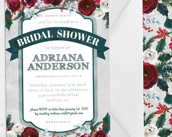 Winter Bridal Shower Invite - Forest Green and Burgundy Bridal Shower Invitation - Holly Christmas Floral Watercolor - 5x7 Printable PDF