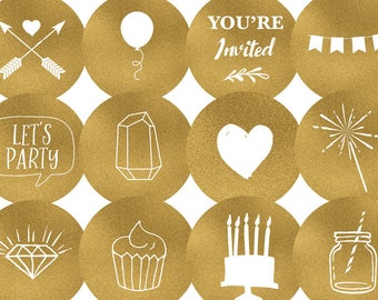 Instagram Story Highlight Covers for Wedding Industry / Event Planner / Party Planner - Gold Foil Instagram Story Cover Icons - Set of 12