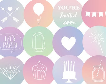 Instagram Story Highlight Covers for Wedding Industry / Event Planner / Party Planner - Pastel Instagram Story Cover Icons - Set of 12
