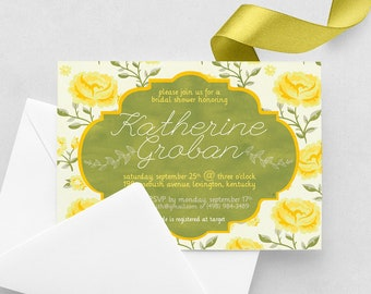 Green and Yellow Bridal Shower Invite - Yellow Roses Bridal Shower Invitation - Chartreuse Bridal Shower - Yellow Roses - 5x7 Print at Home