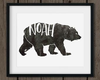 Customized Baby Boy Name Nursery Artwork - Woodland Nursery Name Art - Watercolor Bear Art - Kids Bedroom Print at Home Download 8x10
