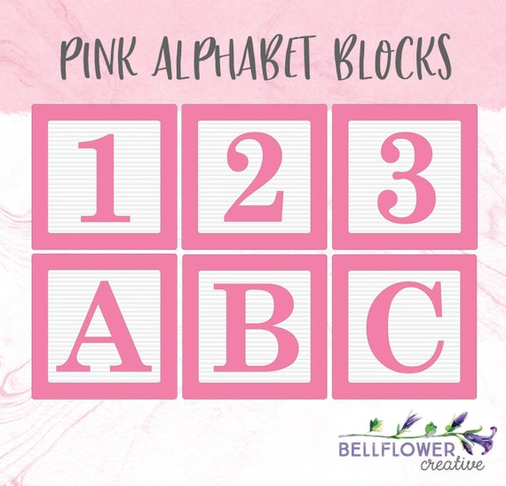 Alphabet Box Letter Font.Pink Alphabet Blocks Clip Art Alphabet Blocks Font Alphabet Blocks Clipart Png Pink Baby Blocks Graphic Instant Download High Res