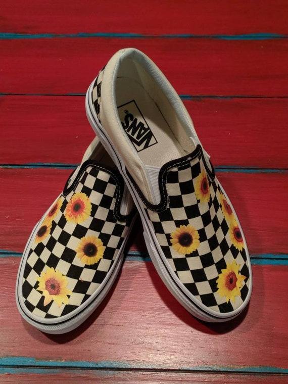 Sunflower VANS brand shoes checkered