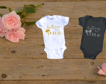 Half Birthday Outfit Girl 1 2 Bodysuit Boy OutfitGirl Gift1 Way To OneHalf For Twins