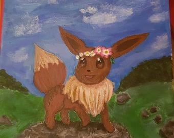 Eevee Pokemon- 20X20cm Canvas Painting cute