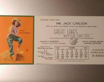 Great Lakes Bottle Cap Co. 1941 pinup Calendar Card Detroit