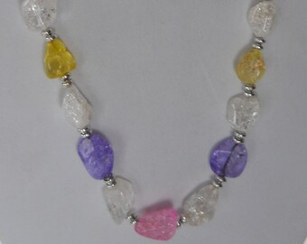 Ice flake quartz in summer colors combine with silver to create a cool inspiring statement necklace.