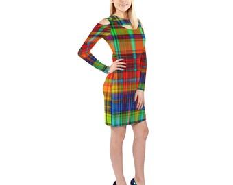 608296e58ba6c dark plaid off shoulder halter dress