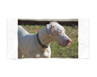 White Great Dane Beach Towel