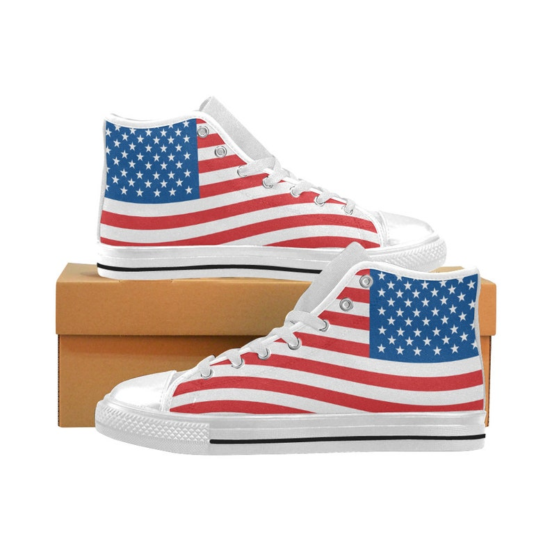 USA Flag Men/'s Classic High Top Canvas Shoes