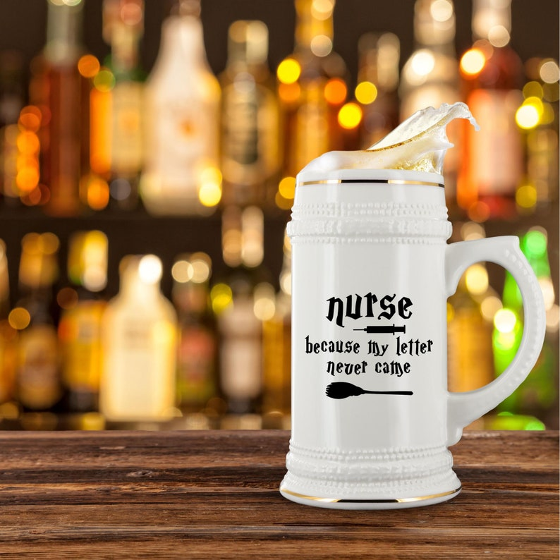 Funny Nurse Gift For Men Him Male Nurse Beer Stein Mug Glass Cup Nursing Student Nurse Graduation W-11T Gift For Nurse Appreciation