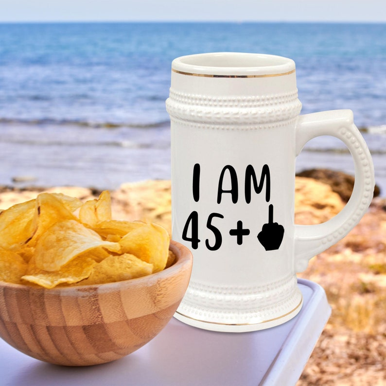 46th Birthday Beer Stein Mug Glass Cup 46 Forty Six Sixth 1975 Funny Gift For Men Him Dad Husband Brother Male Guy Bday Ideas Present M-12X