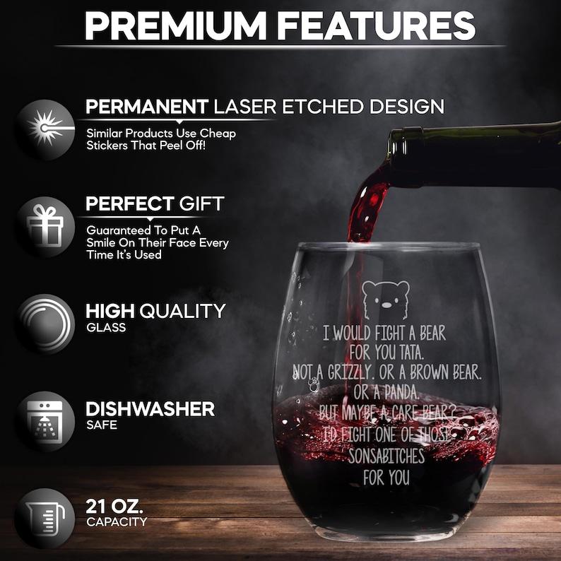Tata Birthday Tata Present Funny Tata Gift For Tata Laser Etched Stemless Wine Glass Cup Tata Gift Idea Best Tata Ever T-93R Tata Cup