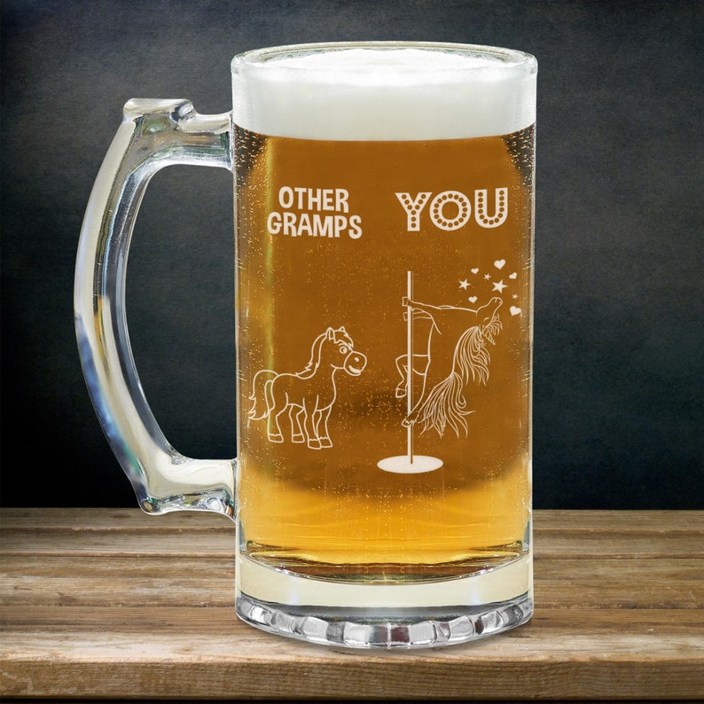 Gramps Beer Mug Glass Stein Cup Funny Gifts For Birthday Best Present Idea Ever Unicorn Gift From Granddaughter Grandson Grandchildren T-62Q