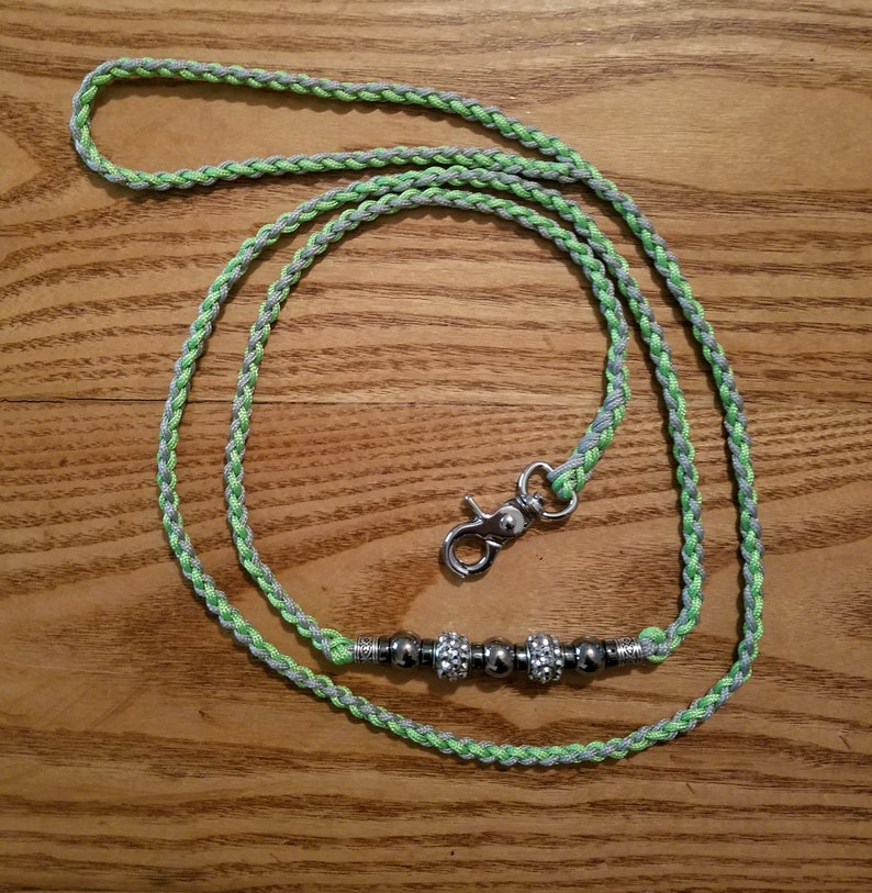 4 Ft  Gray and Neon Green 95 Paracord Dog Leash with rhinestone and silver  plated beads  Handmade 4 Strand Braid Stitch Dog Show Lead