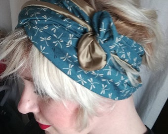 Fabric blue dragonflies double wire headband
