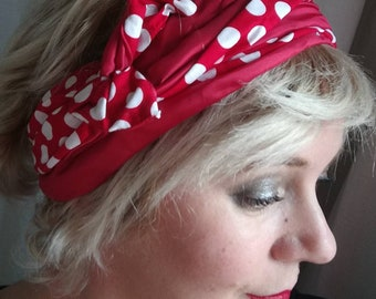 Red and white polka dot fabric headband double wire