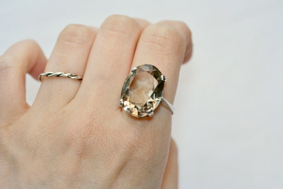 Vintage 1950s 60s mid-century silver large pale s… - image 1