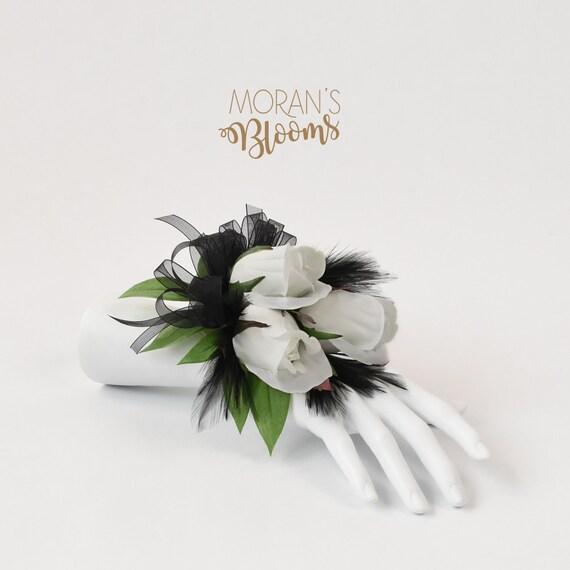 Silk Corsage Wedding Corsage Prom Corsage White Black Etsy