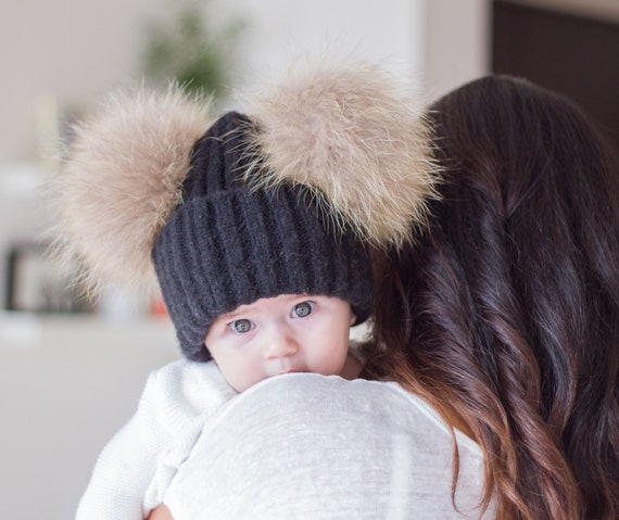 Real Fur baby pom pom hat Baby beanie infant winter hats  7a9dfa044cb