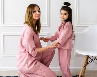 Family look linen Pajama SET  / 100% Pure Linen Pajama in Pink / Linen Night Gown And Pants Set for Girl