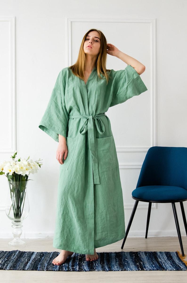 Stonewashed linen Kimono / 100% Pure Linen Bathrobe in image 0