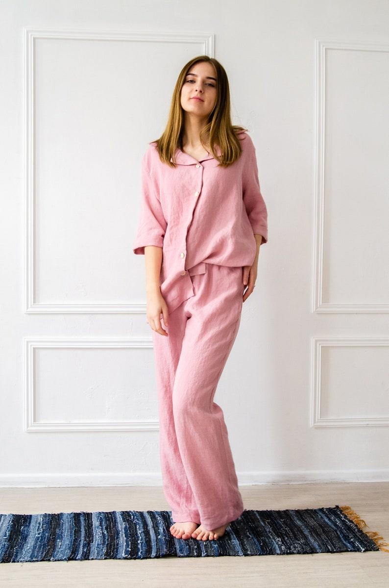 Stonewashed linen Pajama SET For Her  100/% Pure Linen Pajama in Pink  Bridesmaid Pajamas