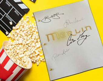 Merlin Pilot  Script, Screenplay with Signatures, Autograph Reprint Unique Gift Christmas Valentines Birthday Present