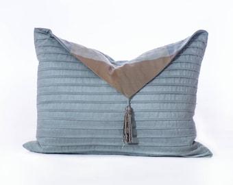 Blue rectangular cushion