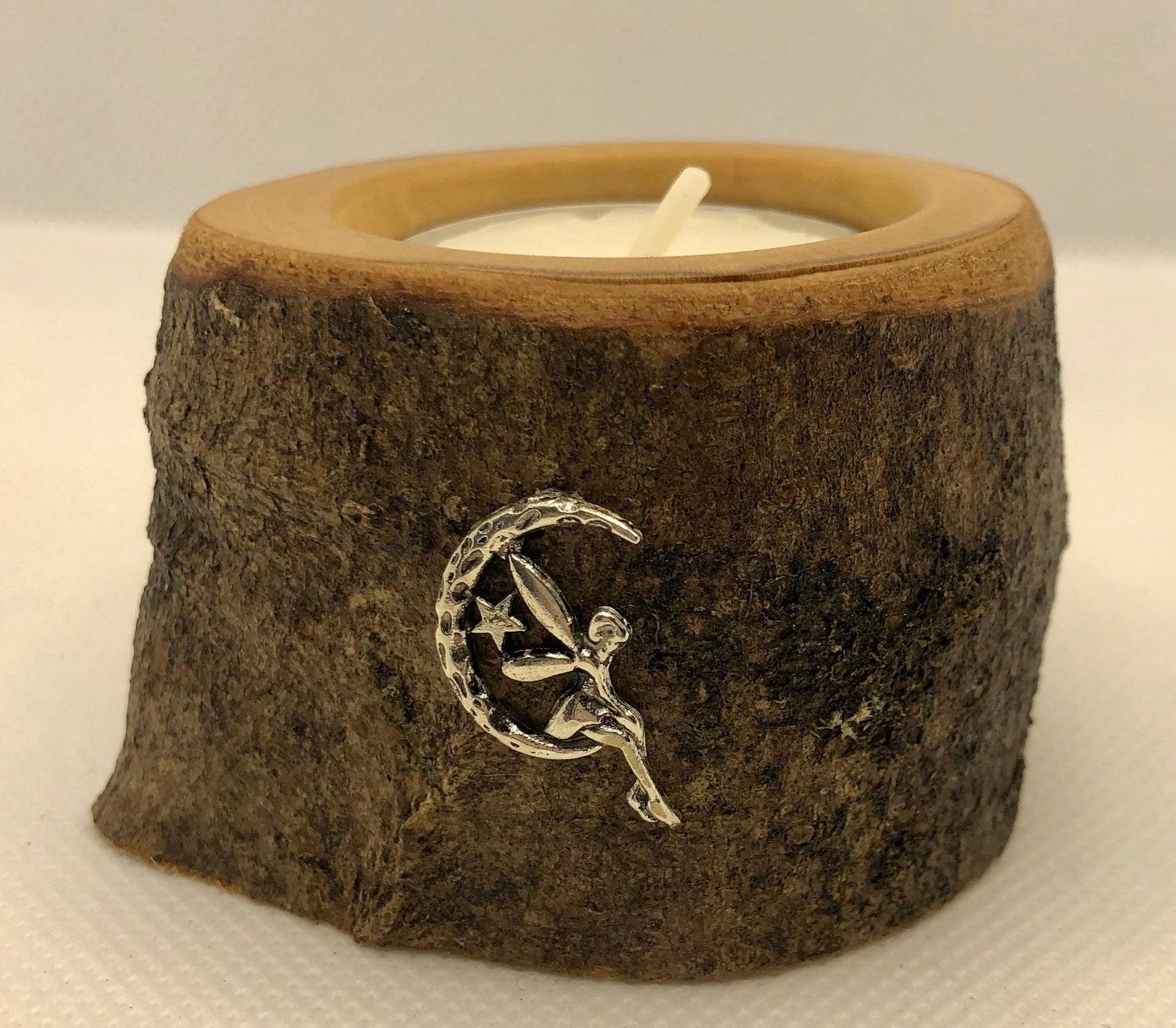 Beautiful Fairy charm single wooden tealight holder