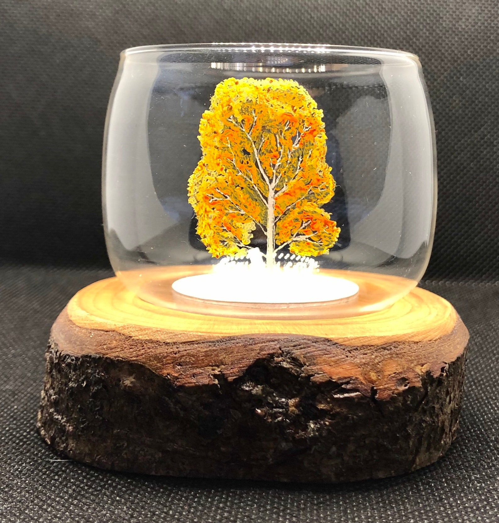 Single glass tealight holder with freehand white birch tree engraving and Dartmoor wood base