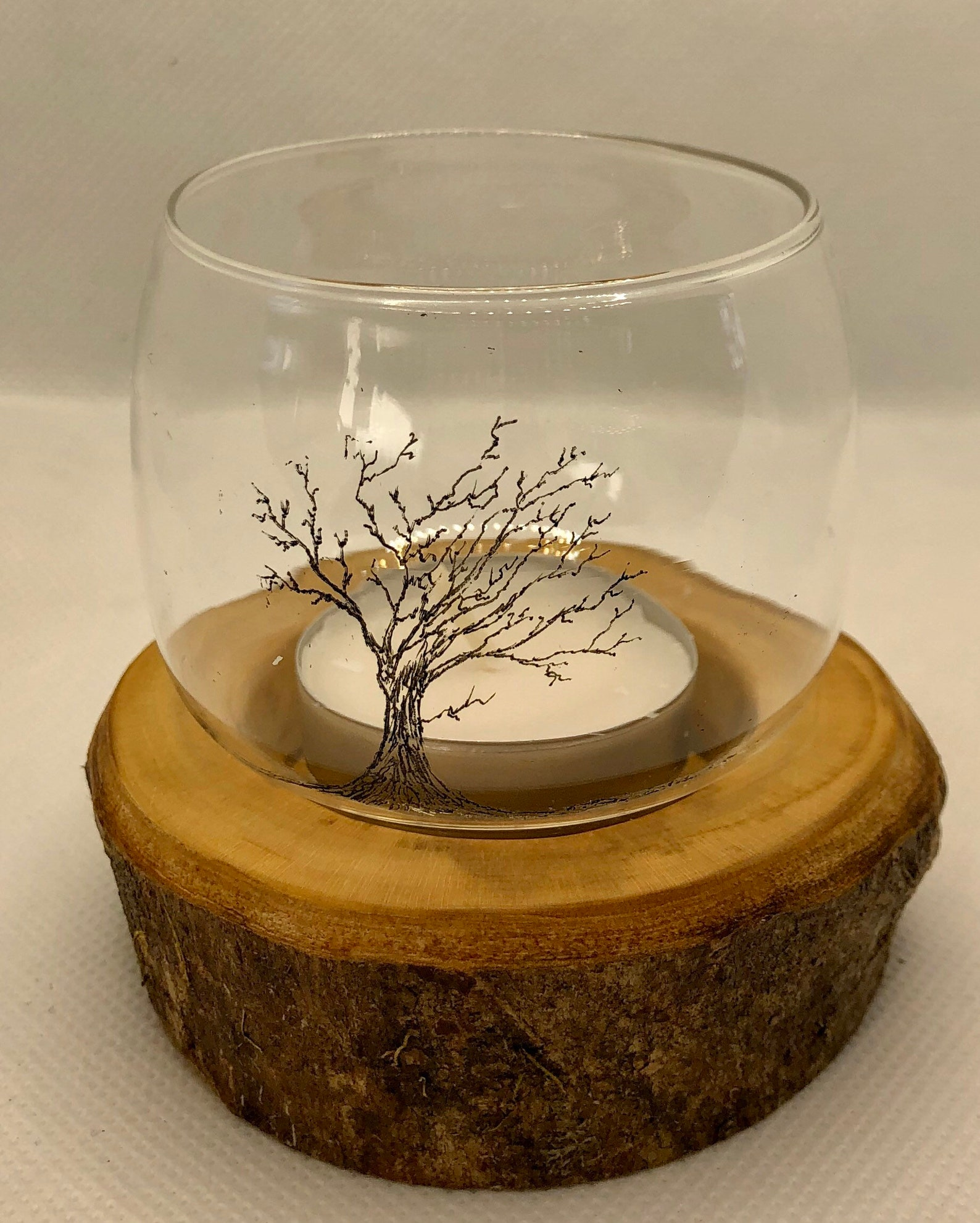 Single glass tealight holder with freehand Hawthorn tree etching/engraving and Dartmoor Ash wood base