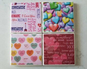 Love-Themed Coasters - Valentine's Day - Anniversary - Just Because - Ceramic Coasters -
